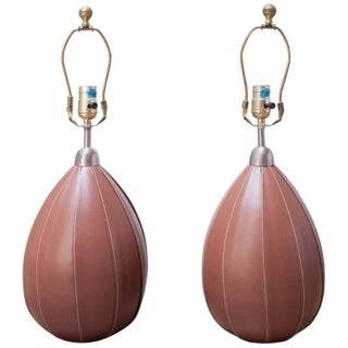 Ralph Lauren Stitched Leather Table Lamps - Pair