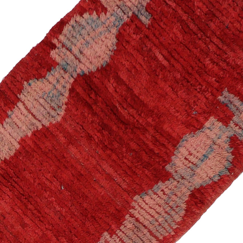 vintage moroccan midcentury modern berber red runner rug