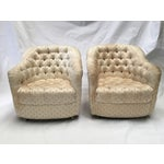 Image of Tufted Pineapple Swivel Club Chairs - A Pair