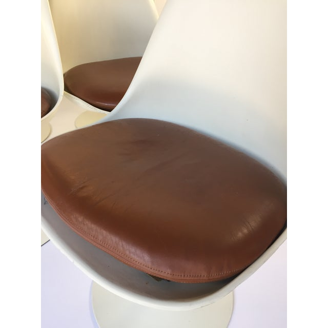Eero Saarinen Leather Tulip Chairs - Set of 6 - Image 3 of 9