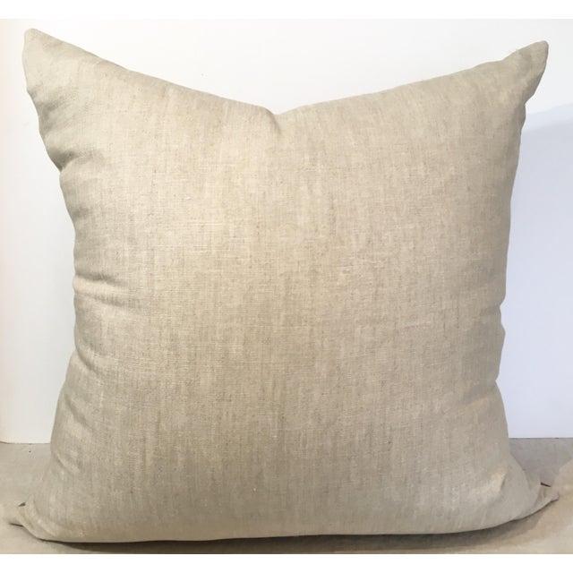Taupe & Aqua Ikat Pillow - Image 4 of 4