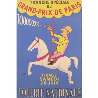 1958 French Loterie Nationale Poster Grand Prix Jockey and Carousel by Piem