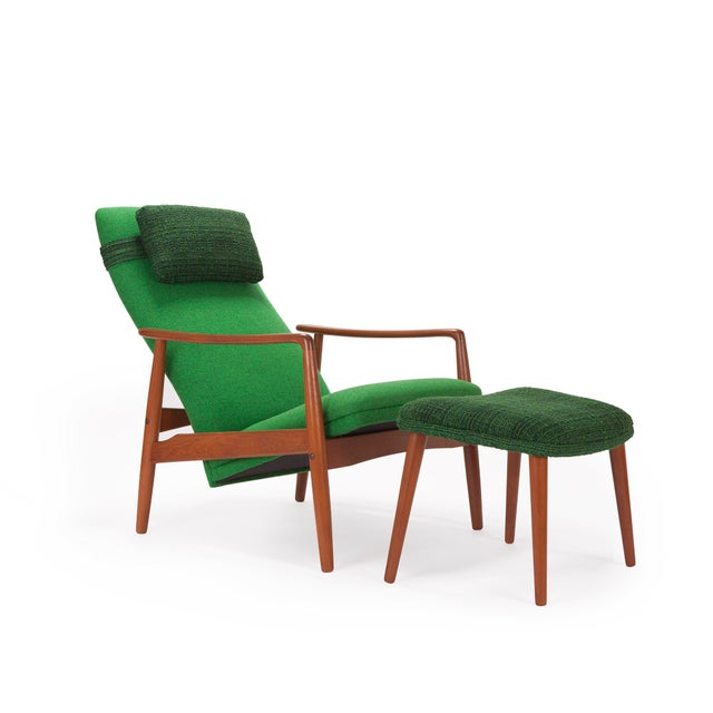1950s Svend Langkilde for Sl Mobler Teak w/ Green Upholstered Danish Recliner Lounge Chair & Ottoman - Image 4 of 6