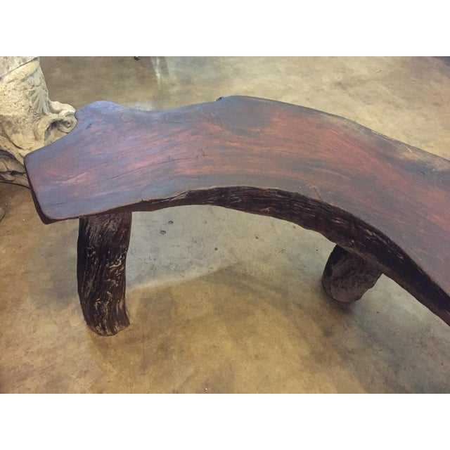 Organic Natural Iron Wood Curved Rustic Bench - Image 10 of 11
