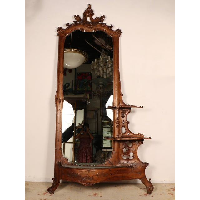 Wood Foyer Mirror : Carved wood entryway mirror with planter chairish