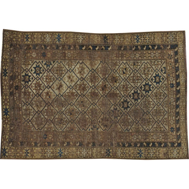 "Image of Antique Caucasian Distressed Rug - 3'5"" X 5'0"""