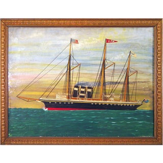 Silk and Canvas Picture of a British Ship in American Waters