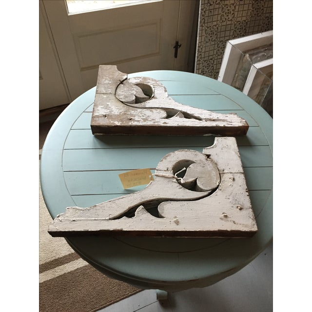 Distressed White Shelf Brackets- A Pair - Image 10 of 11