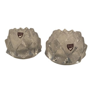 Orrefors Sweden Artichoke Candle Holders - a Pair