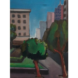 Vintage Painting of a Cityscape, Urban Highrise