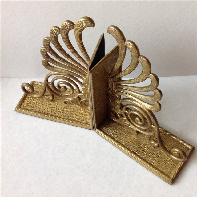 Antique brass radius bookends a pair chairish - Antique brass bookends ...
