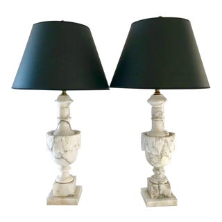 Antique Hand-Carved Carrara Lamps - A Pair