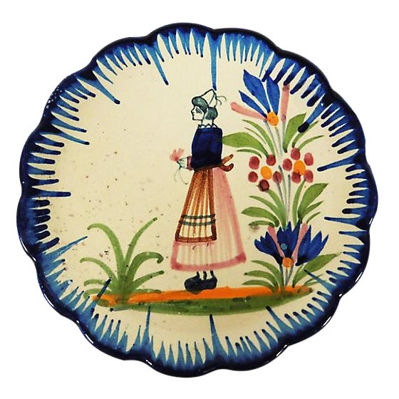 Small Faience Quimper Plate - Image 1 of 2