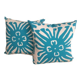 Quadrille Fabric Janet Kain Turquoise Pillows - a Pair