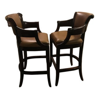 Woodbridge Furniture Brown Leather & Mahogany Bar Stools - A Pair