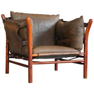 Arne Norell Safari Chair Model Ilona in Brown Leather and Beech