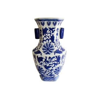 Hand Painted Floral Blue & White Export China Jar