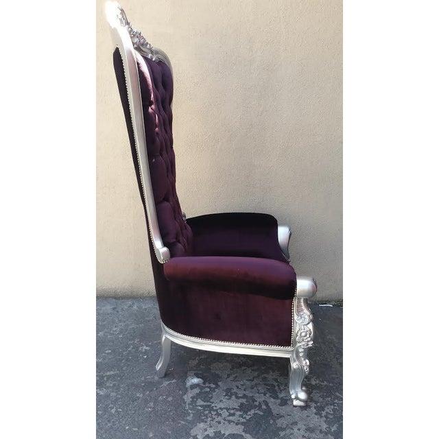 Tall Plum Purple Velvet Chair - Image 2 of 4