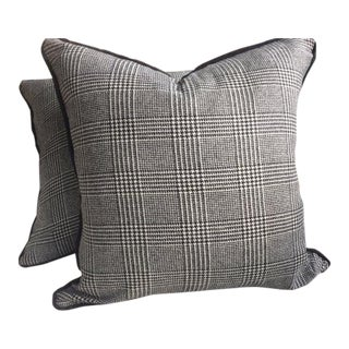 "Ralph Lauren ""Hathaway Glen Plaid"" Wool Black & Cream Pillows - a Pair"