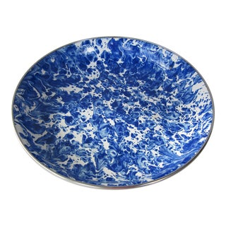 Blue & White Marbleized Enamel Serving Bowl