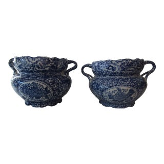Asian Blue & White Decorative Planter Bowls - A Pair