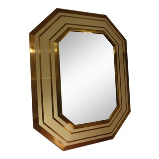 French Octagonal Brass and Ivory Lacquer Mirror