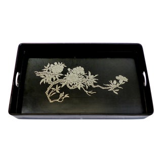 Lacquered With Silver Overlay Serving Tray