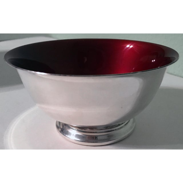 Silverplate Paul Revere Bowls With Red Enamel Interior - a Pair - Image 5 of 7