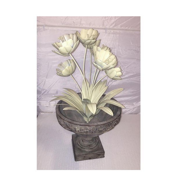 Shabby Chic Painted Metal French Flower Topiary - Image 2 of 4