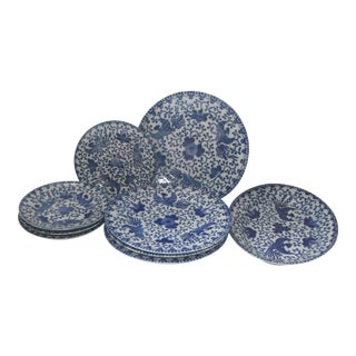 Blue & White Transferware Plates and Platters - Set of 9