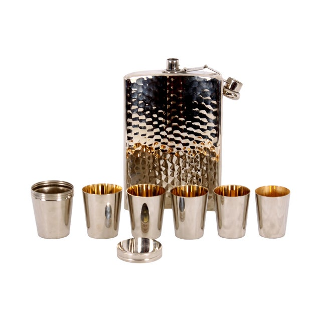 German Flask with Shot Glasses - Set of 7 - Image 1 of 4