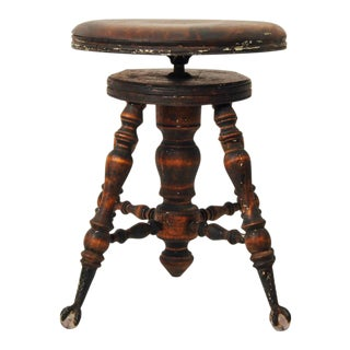 Victorian Antique Clawfoot Dark Wood Piano Stool