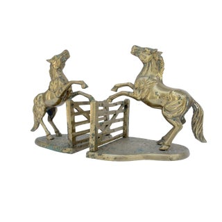 Brass Horse & Fence Bookends - A Pair