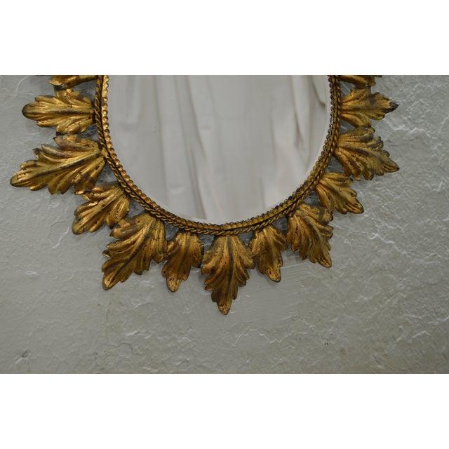 Hollywood Regency Mid century Gold Gilt Metal Starburst Wall Mirror - Image 11 of 11