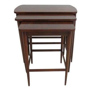 Vintage Mid-Century Walnut Stacking Nesting Table - Set of 3
