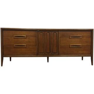 Bassett Mid-Century Long Walnut Dresser