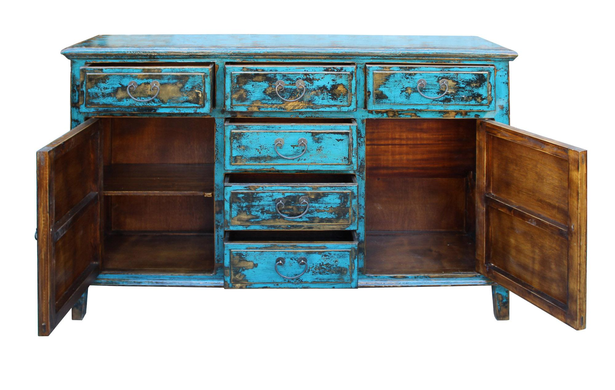 Oriental Distressed Rustic Blue Credenza Sideboard Buffet Table Cabinet    Image 4 Of 6