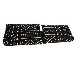 Black & White Mud Cloth Textiles - A Pair