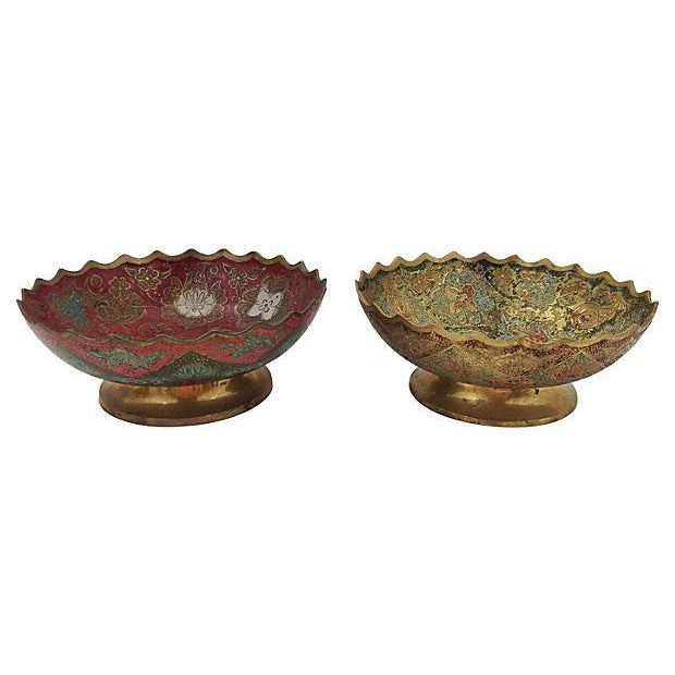 Image of Indian Brass Polychrome Bowls - A Pair