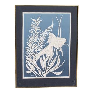 Mid Century Modern Silkscreen Aquatic Art