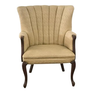 Antique Ivory Brocade Wingback Channel Chair