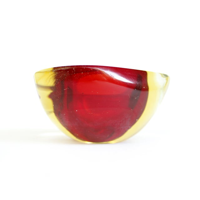 Murano Red & Yellow Sommerso Geode Bowl Ashtray - Image 3 of 5