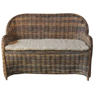 Organic Modern Woven Rattan and Wicker Settee