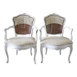 Antique Country French Cane Chairs With Leopard Upholstery - A Pair