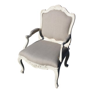 French Natural Linen Bergere Chair