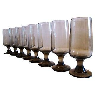 Retro Tawny-Smoke Whiskey Sour Glasses - Set of 8