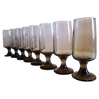 Retro Tawny-Smoke Whiskey Sour Glasses - Set of 8