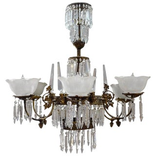 Rod-Hung Renaissance Style Brass and Crystal Glass Chandelier