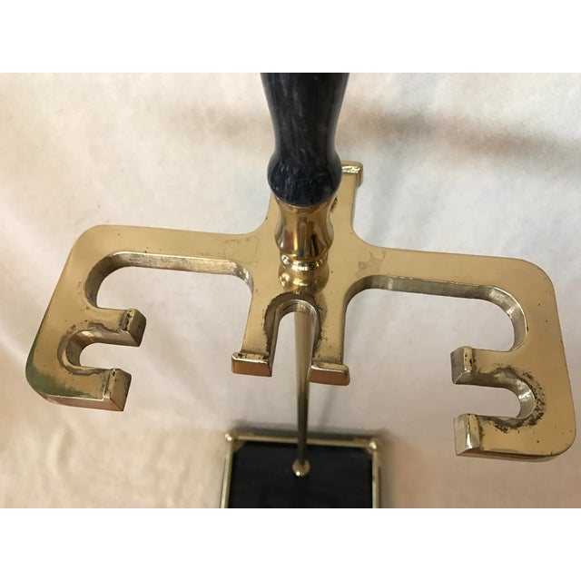 Brass & Black Marble Fireplace Tools Set - Image 7 of 8