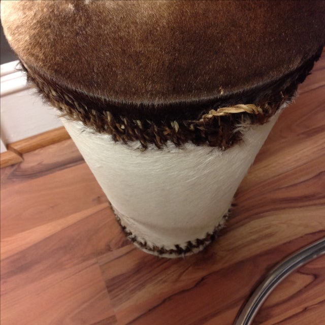 Cowhide Drum Side Table - Image 4 of 7